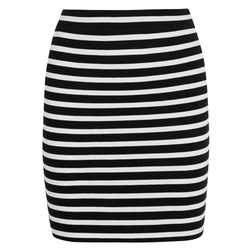 Striped stretch-cotton ponte mini skirt