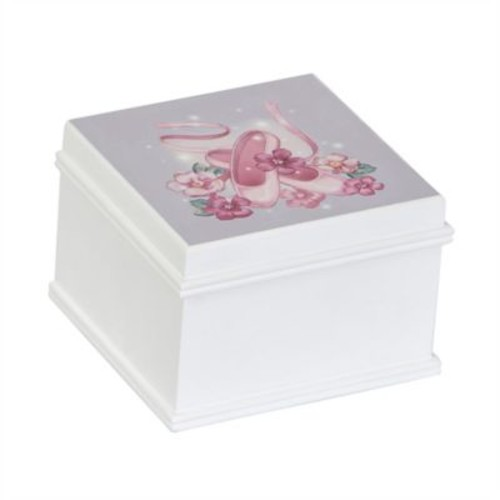 Mele & Co. Surrey Girl's Wooden Musical Ballerina Jewelry Box in White