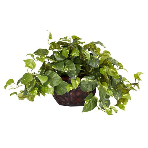 Nearly Natural 15 in. H Green Pothos with Decorative Vase Silk Plant