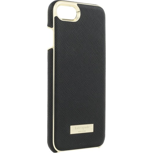 kate spade new york - Wrap Case for Apple iPhone 7 - Saffiano black/Gold logo plate