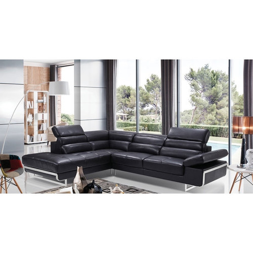 LUCA Home Split Black Leather Sectional