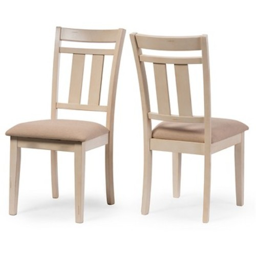 Roseberry Chic French Country Cottage Antique Oak Wood & Distressed White Dining Side Chairs (Set of 2) - Cream - Baxton Studio