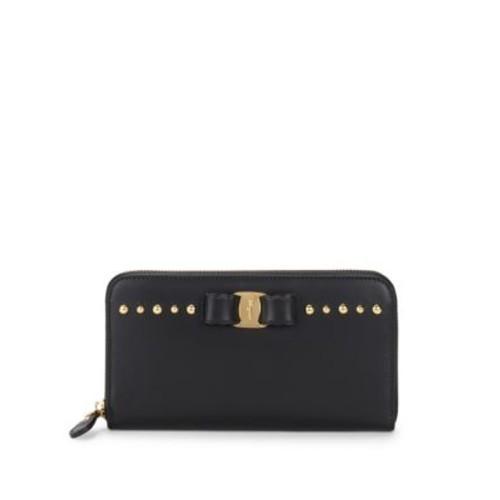Salvatore Ferragamo - Studded Leather Zip-Around Wallet