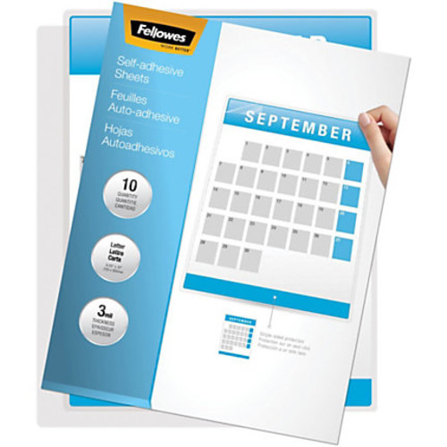 Fellowes Self Adhesive Laminating Sheets, Letter, 3mil, 10 pack