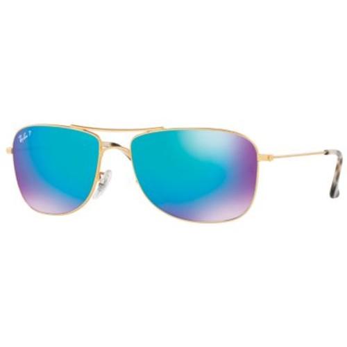Ray-Ban RB3543 Chromance Polarized Sunglasses [Fits Size : M/L; Frame Material : Metal; Frame Color : Matte Gold; Lens Color : Blue Flash; Lens Material : Plastic]