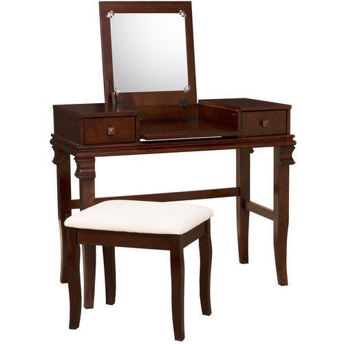 Linon Angela Vanity Set including Mirror and Stool, Walnut Brown