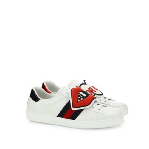 GUCCI Ace Blind For Love Leather Sneakers