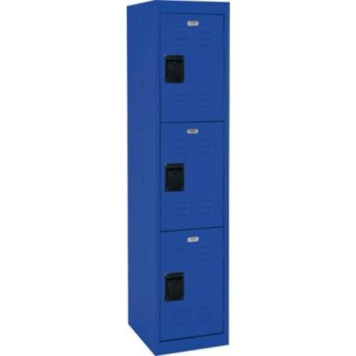 Three tier locker, recessed handle, blue
