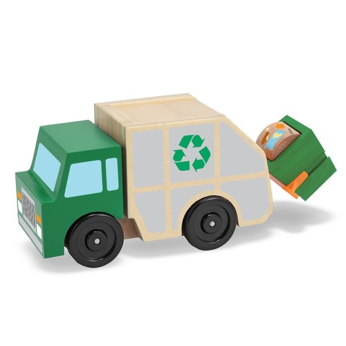 Melissa & Doug Garbage Truck Wooden Vehicle Toy (3 pcs)