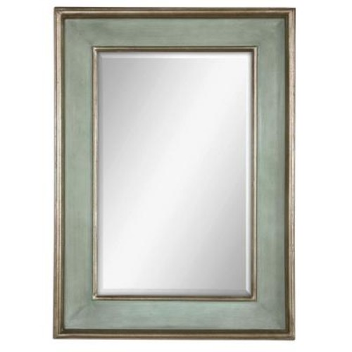 Global Direct 36 in. x 26 in. Rubbed Blue Wood Rectangular Framed Mirror