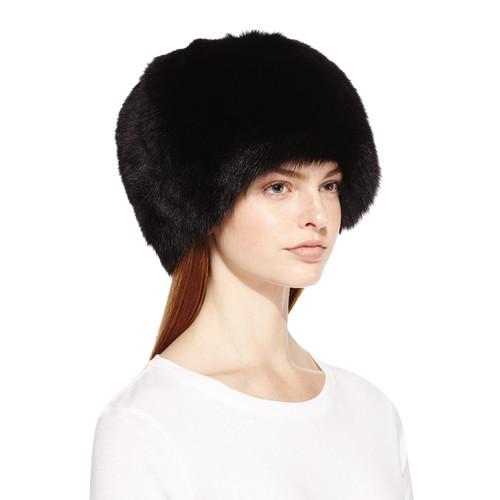 Surell Fox Fur Bubble Hat, Black