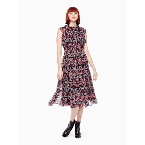 tapestry chiffon midi dress