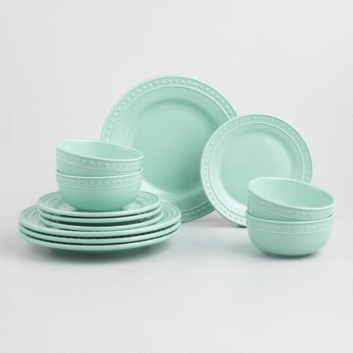 Aqua Nantucket Dinnerware 12 Piece Set