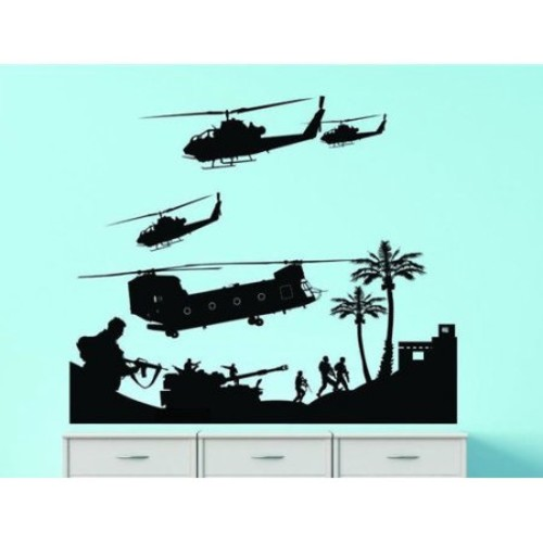 Design With Vinyl Troops Fighting Vision Chopper Firearm Wall Decal