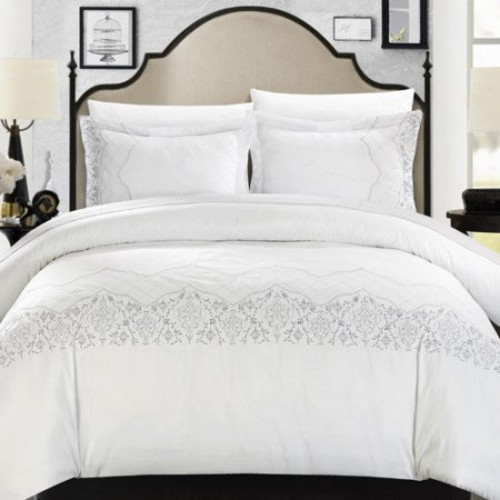 Chic Home DS3550-US Saraphina Embroidered Bridal Collection Duvet Set - White - King - 3 Piece