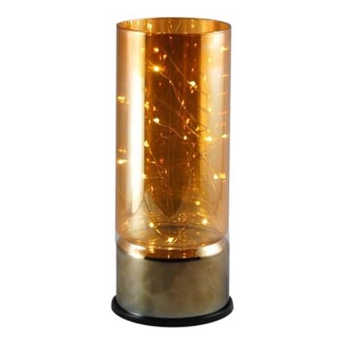 LumaBase Glass Amber Lantern with Mini LED String Lights