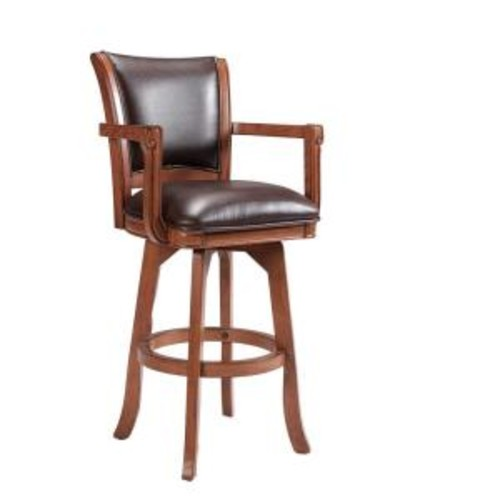 Hillsdale Furniture Park View 26 in. Medium Brown Oak Swivel Cushioned Bar Stool