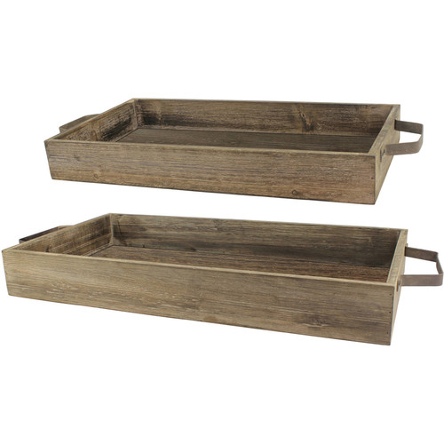 Set of 2 Rustic Wood And Metal Trays