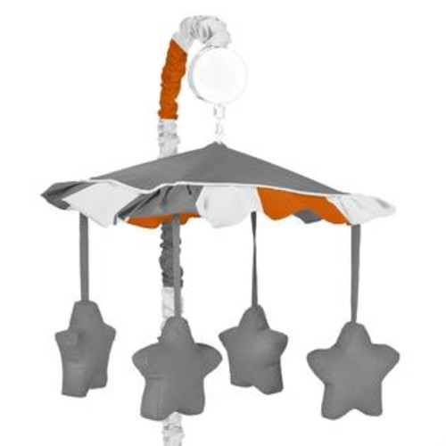 Sweet Jojo Designs Gray and Orange Stripe Collection Musical Mobile by