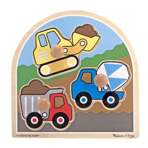 Melissa & Doug Construction Site Vehicles Jumbo Knob Wooden Puzzle