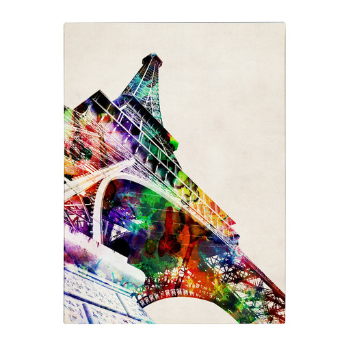 Trademark Global Michael Tompsett 'Eiffel Tower' Canvas Art [Overall Dimensions : 14x19]