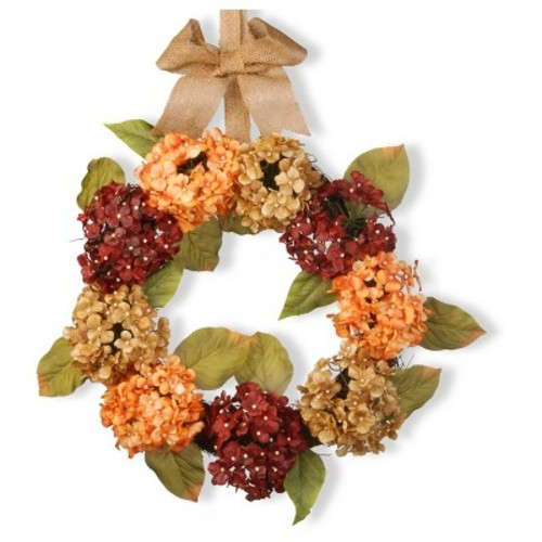 Artificial Mixed Hydrangea Wreath Peach 24