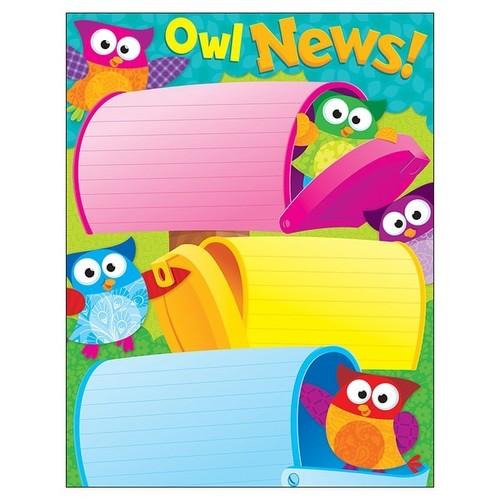 TREND ENTERPRISES INC. Acrylic Wall Art Owl News Learning Chart
