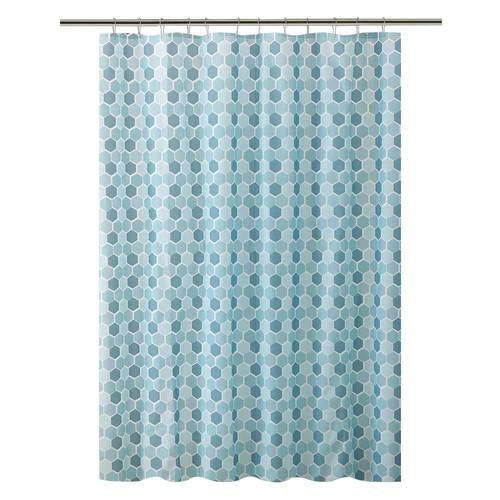 Bath Bliss Peva 72 in. Blue 13-Piece Shower Curtain/Hook Set in Hexagon Design with 12-Roller Hooks