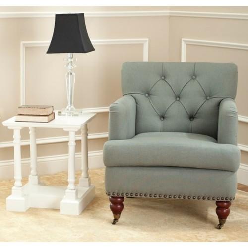 Safavieh Manchester Green Grey Tufted Club Chair
