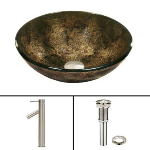 VIGO Glass Vessel Sink in Sintra and Dior Faucet Set in Brushed Nickel