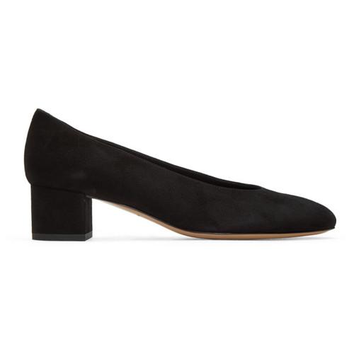 Black Suede Ballerina Pumps