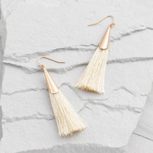 Gold Cone Tassel Drop Earrings