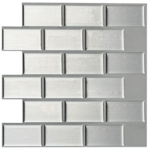 Instant Mosaic 3 in. x 6 in. Peel and Stick Mosaic Decorative Wall Tile Sample in Silver Metallic