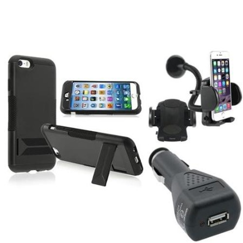 Insten Black Hard Hybrid Case With Stand+Car Mount+Black Car Charger For Apple iPhone 6S 6 4.7