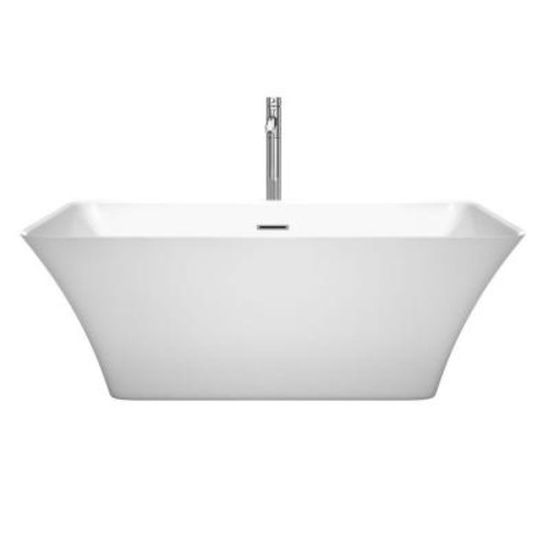 Wyndham Collection Tiffany 59 in. Acrylic Flatbottom Center Drain Soaking Tub in White with Floor Mounted Faucet in Chrome