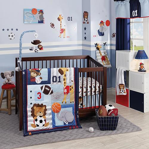 Lambs & Ivy(R) Future All Star Blue/Gray Sports 4 Piece Crib Bedding Set