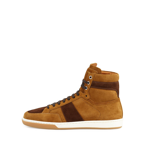 SAINT LAURENT Colorblock Suede High-Top Sneaker, Tan/Coffee