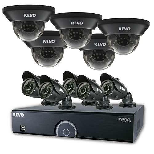 Revo 16CH 4TB 960H DVR Surveillance System - 10x 700TVL, 100 ft. Night Vision Cameras - R165D5GB5G-4T