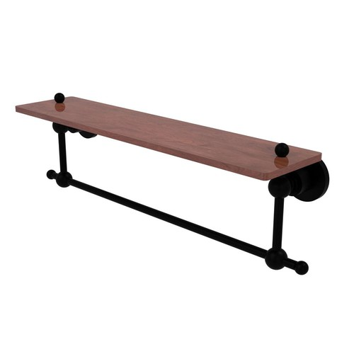 Allied Brass Astor Place Collection 22 in. Solid IPE Ironwood Shelf with Integrated Towel Bar in Matte Black