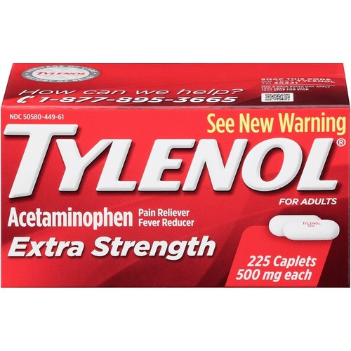 Tylenol Pain Reliever/Fever Reducer, 500 mg, Extra Strength, Caplets 225 caplets