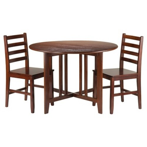 3 Piece Alamo Set Drop Leaf Table with Ladder Back Chairs Wood/Walnut - Winsome