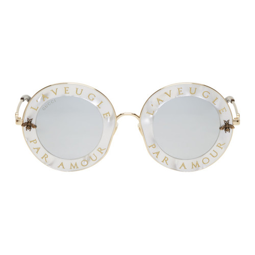 GUCCI White 'L'Aveugle Par Amour' Sunglasses