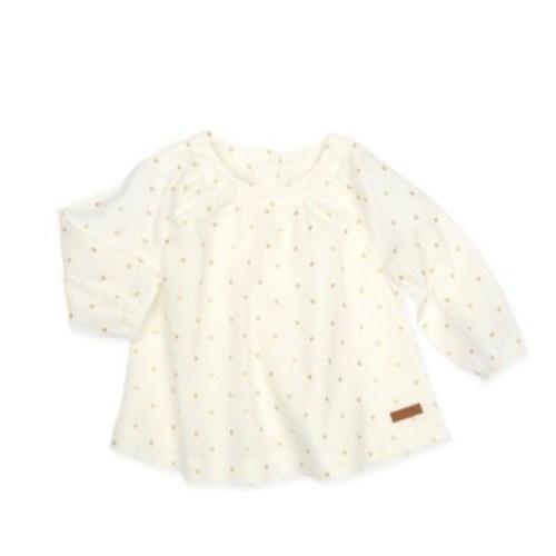 Robeez Size 3-6M Long Sleeve Polka Dot Swing Top in White