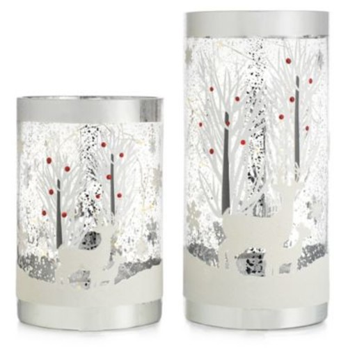 Home Essentials & Beyond Reindeer Glass Candleholders with LED String Lights (Set of 2)