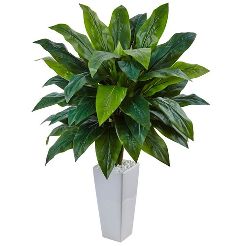 Nearly Natural Indoor Cordyline Artificial Plant in White Tower Planter