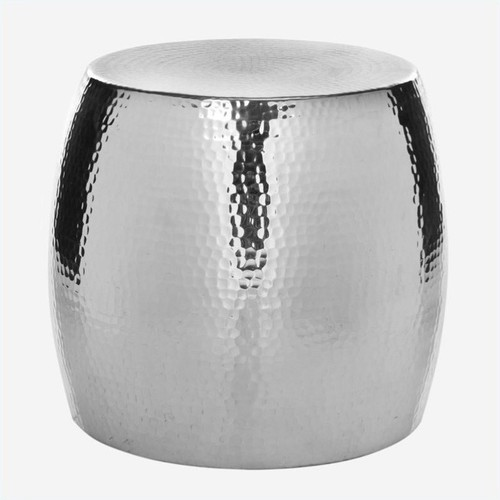 Safavieh Vanadium Aluminum Round Stool in Silver
