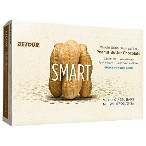 Detour Smart Gluten Free Oatmeal Bar, Peanut Butter Chocolate, 1.3 Ounce, 9 Count [Peanut Butter Chocolate, 9 count]