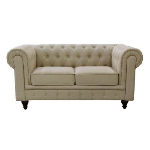 Grace Chesterfield Linen Fabric Upholstered Button-Tufted Loveseat, Cream Beige