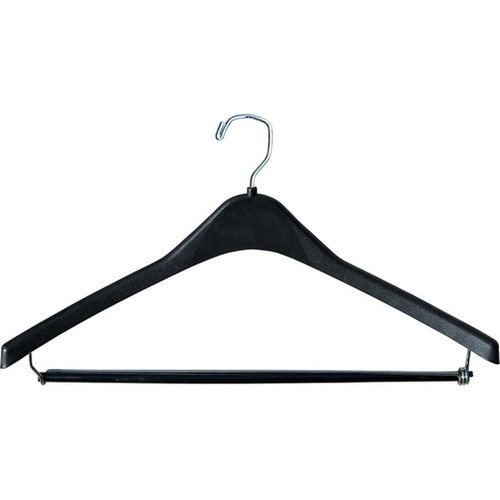 Heavy-Duty Black Plastic Coat Hanger, Box of 12 1/2 Inch Thick Countoured Hanger with Chrome Square Top Hook