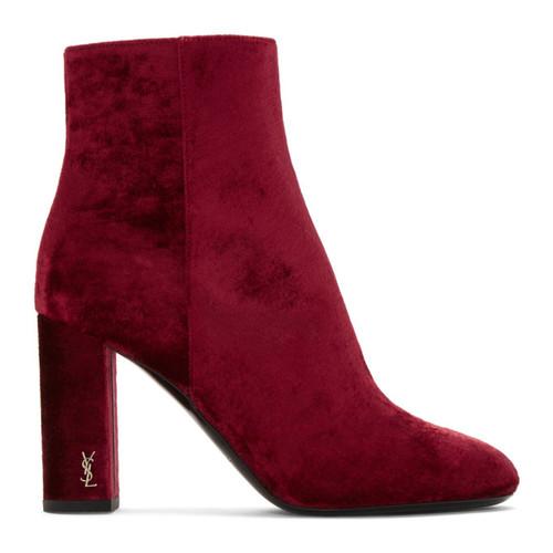 SAINT LAURENT Red Velvet Loulou Zipped Boots